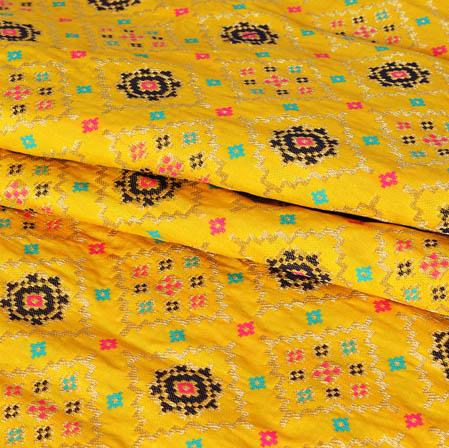 Yellow Pink and Golden Floral Banarasi Silk Fabric-9450