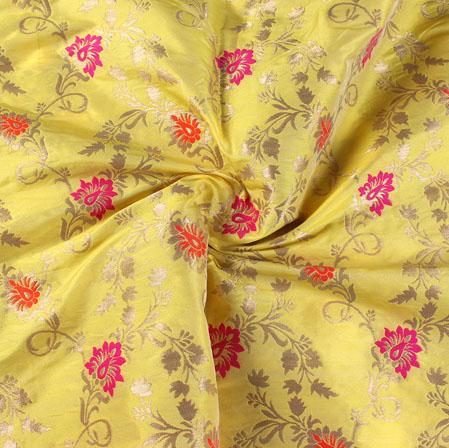 Yellow Pink and Golden Floral Banarasi Silk Fabric-9507
