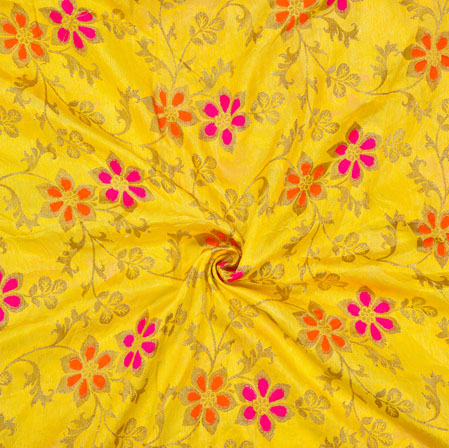 Yellow Pink and Golden Floral Satin Brocade Silk Fabric-12695