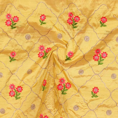 Yellow Pink and Golden Jalbari Embroidery Silk Fabric-61053