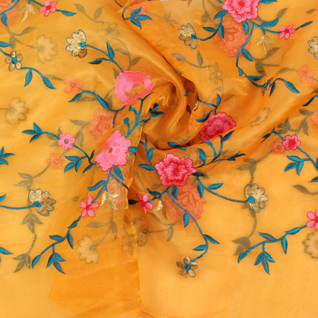 Yellow-Pink and Golden Organza Embroidery Fabric-51433