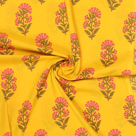 Yellow Pink and Green Block Print Rayon Fabric-14891
