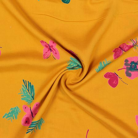 Yellow Pink and Green Block Print Rayon Fabric-14916