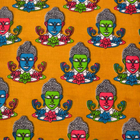 Yellow-Pink and Green Buddha Kalamkari Cotton Fabric-5566