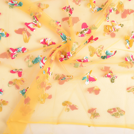 Yellow-Pink and Green Butterfly Embroidery Net Fabric-60672