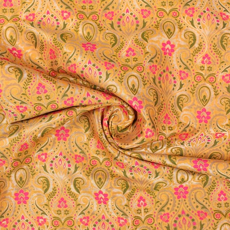 Yellow Pink and Green Floral Banarasi Silk Fabric-9314