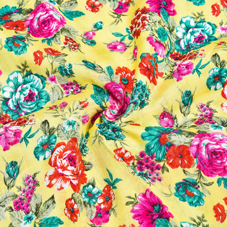 Yellow Pink and Green Floral Banglori Silk Fabric-12330