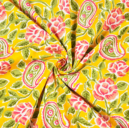Yellow Pink and Green Floral Block Print Cotton Fabric-28473