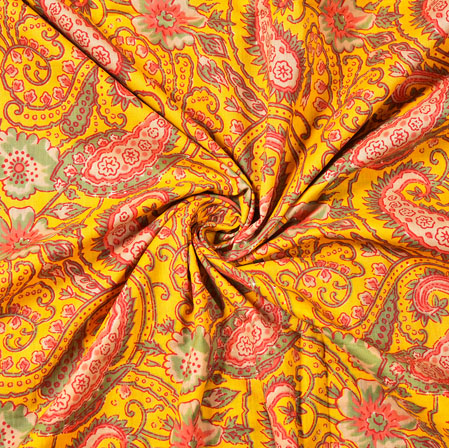 Yellow Pink and Green Floral Block Print Cotton Fabric-28483