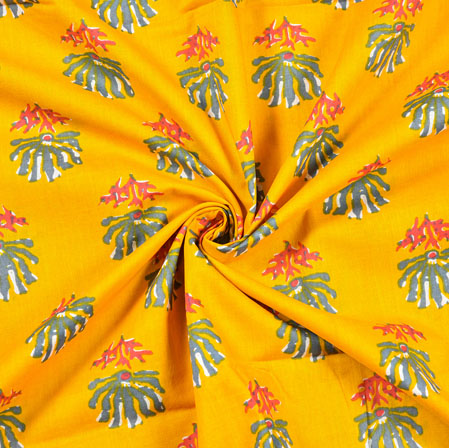 Yellow Pink and Green Floral Block Print Cotton Fabric-28492