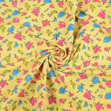 Yellow-Pink and Green Floral Design Block Print Fabric-14430