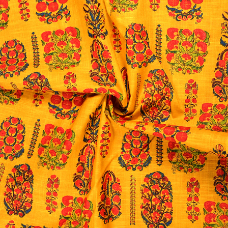Yellow-Pink and Green Floral Design Jam Cotton Silk Fabric-75070