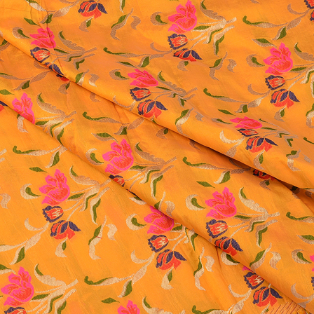 Yellow-Pink and Green Floral Digital Brocade Fabric-24082