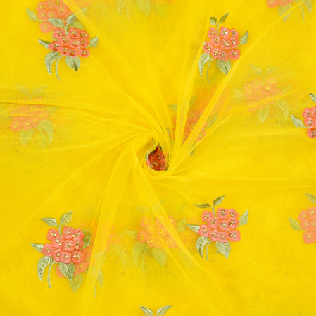 Yellow Pink and Green Floral Net Embroidery Fabric-19266