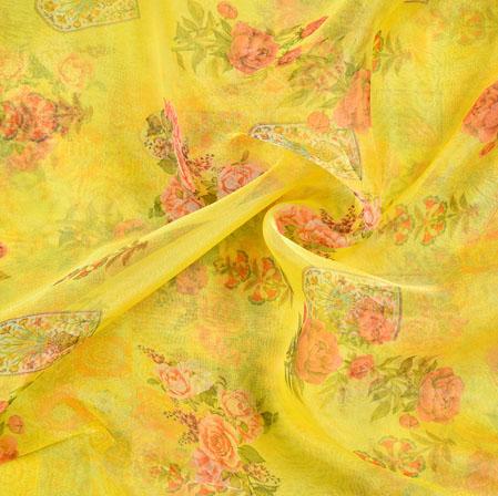 Yellow Pink and Green Floral Organza Digital Silk Fabric-22405