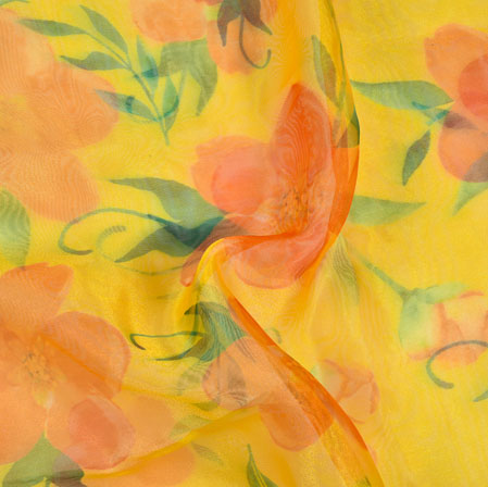 Yellow Pink and Green Floral Organza Silk Fabric-22087
