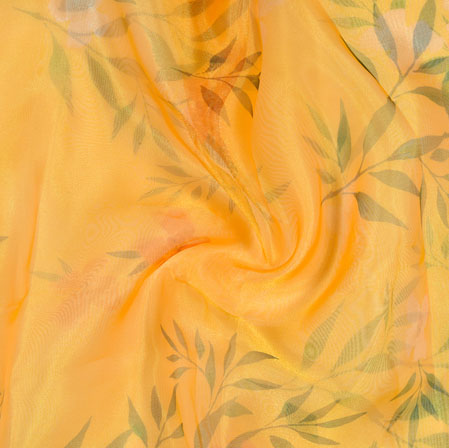 Yellow Pink and Green Floral Organza Silk Fabric-22093