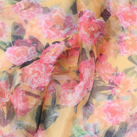 Yellow-Pink and Green Flower Organza Digital Print Fabric-51378