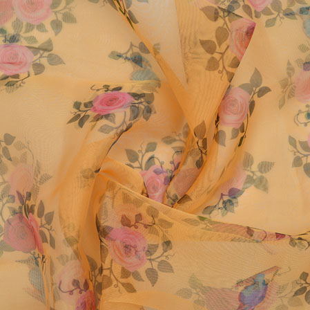 Yellow Pink and Green Flower Organza Silk Fabric-22266