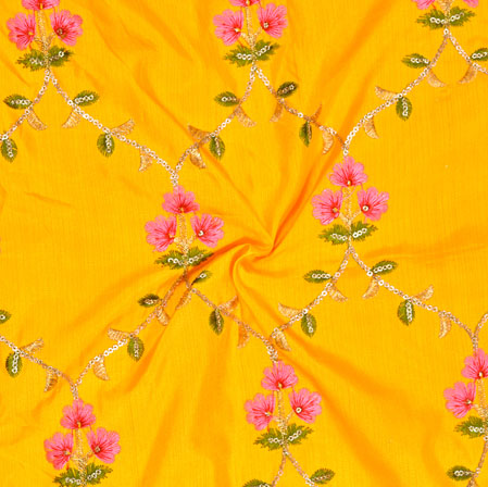 Yellow Pink and Green Embroidery Silk Jalbari Fabric-18557