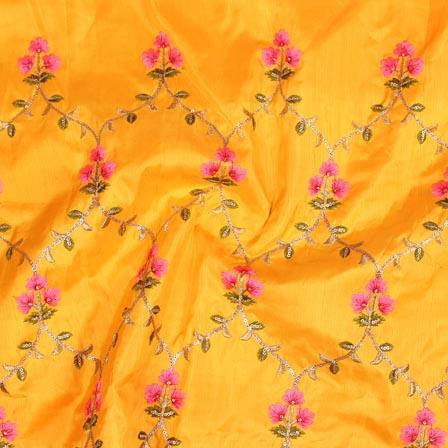 Yellow Pink and Green Jalbari Embroidery Silk Fabric-61035