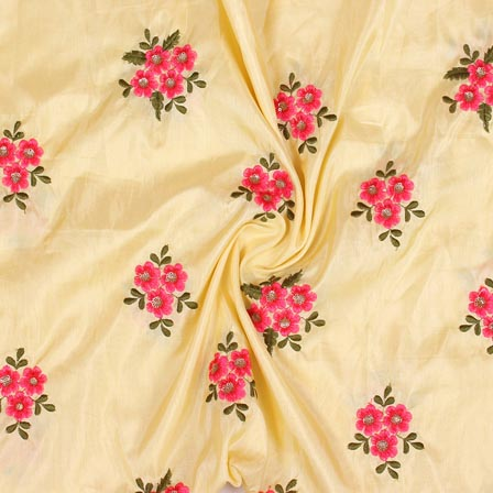 Yellow Pink and Green Jalbari Embroidery Silk Fabric-61042