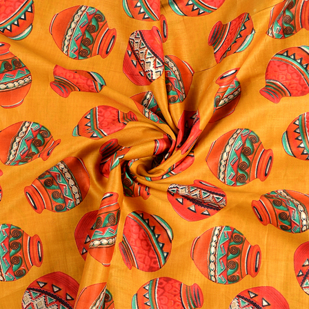 Yellow-Pink and Green Jam Cotton Silk Fabric-75063