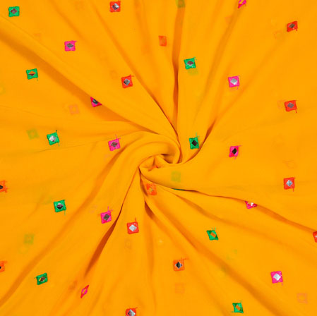 Yellow Pink and Green Polka Georgette Mirror Work Fabric-18939