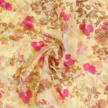Yellow Pink and Orange Digital Organza Silk Fabric-51659
