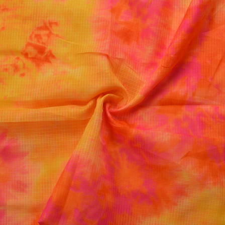 Yellow-Pink and Orange Kota Doria Fabric-25059