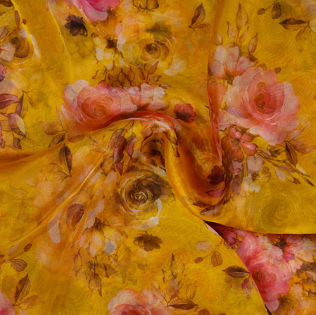 Yellow Pink and White Floral Organza Silk Fabric-22117