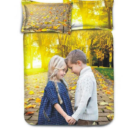 Yellow Print Cotton Double Bed Sheet -0HH57