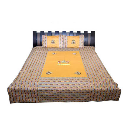 Yellow  Print Cotton Double Bed Sheet -0RDU01BR