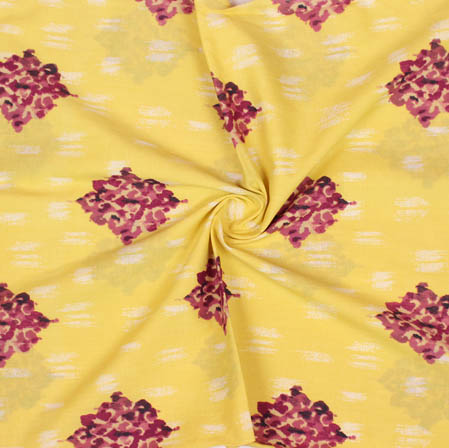 Yellow Purple Block Print Cotton Fabric-14935