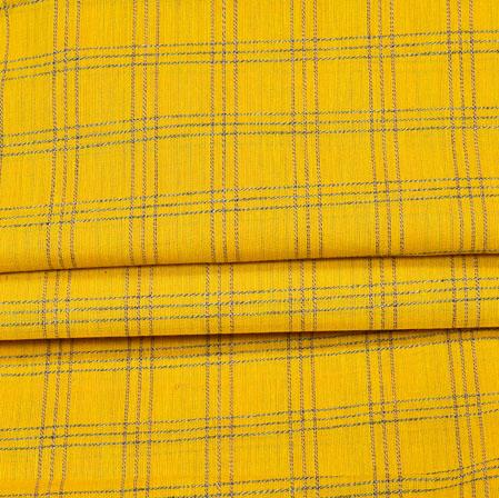 Yellow Purple Checks Handloom Fabric-42030