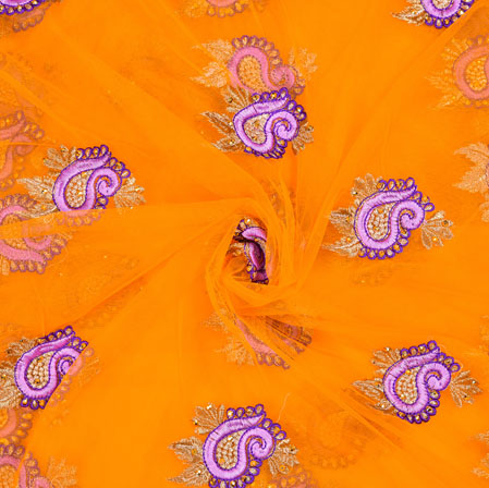Yellow Purple Floral Net Embroidery Fabric-19107