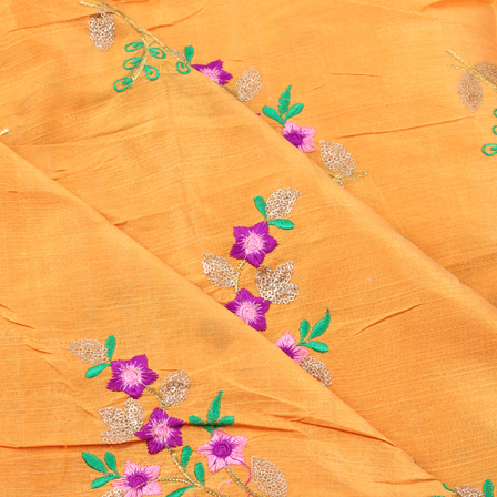 Yellow-Purple and Golden Flower Design Silk Embroidery Fabric -60133