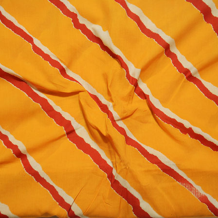 Yellow Red Block Print Cotton Fabric-14602
