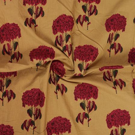 Yellow Red Block Print Cotton Fabric-14826