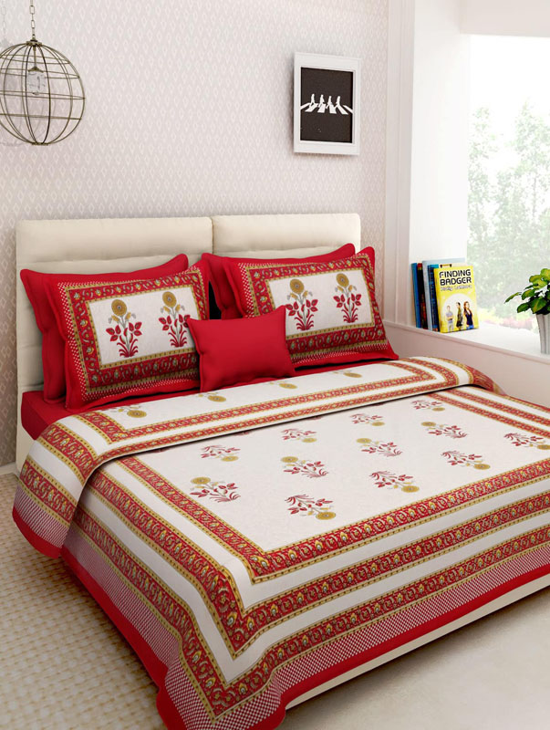Yellow Red Cotton Jaipuri Bedsheet-675
