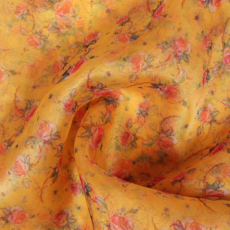 Yellow Red Digital Organza Silk Fabric-51715