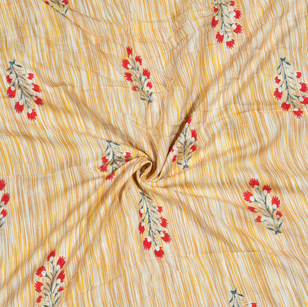 Yellow Red Floral Cotton Flex Fabric-28170