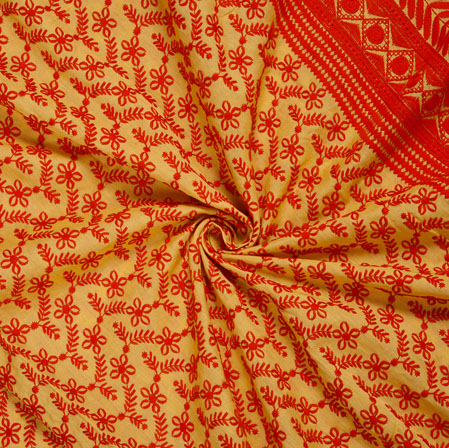 Yellow Red Flower Lucknowi Chikan Fabric-95033