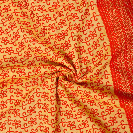 Yellow Red Flower Lucknowi Chikan Fabric-95040