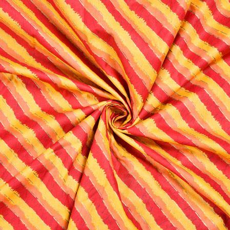 Yellow Red Leheria Block Print Cotton Fabric-28537