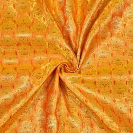 Yellow Red Pannel Work Banarasi Silk Fabric-12804