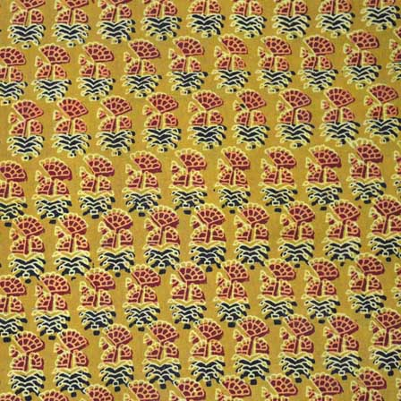 Yellow Red and Black Cotton Ajrakh Fabric