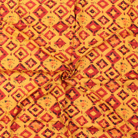 Yellow-Red and Black Square Design Block Print Rayon Fabric-15040
