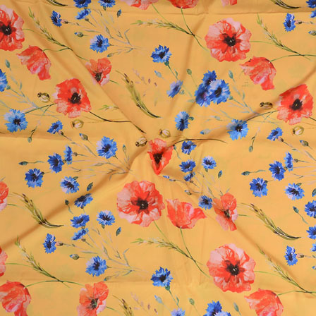 Yellow Red and Blue Flower Crepe Silk Fabric-18232