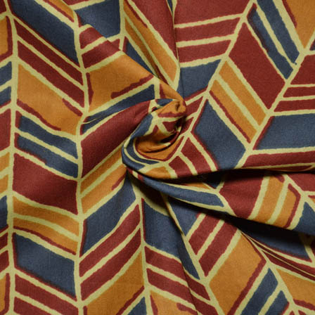 Yellow-Red and Blue Zig Zag Design Ajrakh Block Cotton Fabric-14019